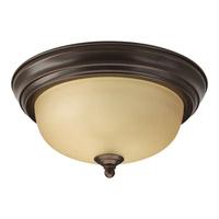 "Progress P3924-20T Alabaster 1 Light 11 inch Antique Bronze Flush Mount Ceiling Light in 11-3/8"" Etched Light Topaz Glass"