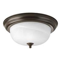 """Progress P3925-20 Alabaster 2 Light 13 inch Antique Bronze Flush Mount Ceiling Light in 13-1/4"""" Alabaster Glass"""