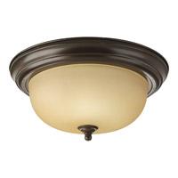 "Progress P3925-20T Alabaster 2 Light 13 inch Antique Bronze Flush Mount Ceiling Light in 13-1/4"" Etched Light Topaz Glass"