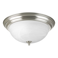 "Progress P3926-09 Alabaster 3 Light 15 inch Brushed Nickel Flush Mount Ceiling Light in 15-1/4"" Alabaster Glass"