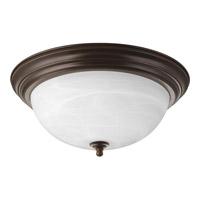 """Progress P3926-20 Alabaster 3 Light 15 inch Antique Bronze Flush Mount Ceiling Light in 15-1/4"""" Alabaster Glass"""