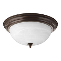 "Progress P3926-20EB Signature 3 Light 15 inch Antique Bronze Close-to-Ceiling Ceiling Light in 15-1/4"" Alabaster Glass Fluorescent"