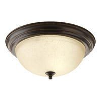 """Progress P3926-20EUL Signature 3 Light 15 inch Antique Bronze Close-to-Ceiling Ceiling Light in 15-1/4"""" Etched Umber Linen Glass"""