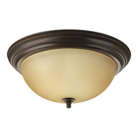 Alabaster 3 Light 15 inch Antique Bronze Flush Mount Ceiling Light in 15-1/4