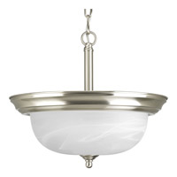 Progress Lighting Alabaster 2 Light Semi-Flush Mount in Brushed Nickel P3927-09
