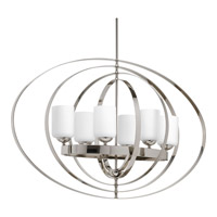 Progress Equinox 6 Light Foyer Pendant in Polished Nickel P3940-104