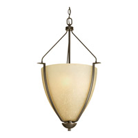 Progress P3969-20 Bravo 3 Light 20 inch Antique Bronze Pendant Ceiling Light in Etched Umber Linen Glass photo thumbnail