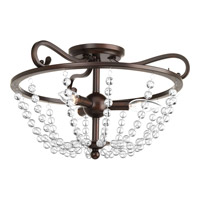 Bliss 3 Light 17 inch Antique Bronze Semi-Flush Ceiling Light