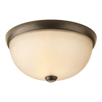 Random 1 Light 11 inch Antique Bronze Close-to-Ceiling Ceiling Light in Light Umber Etched Glass