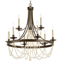 Progress P400006-020 Allaire 9 Light 32 inch Antique Bronze Chandelier Ceiling Light Design Series