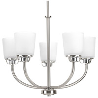 Progress P400009-009 West Village 5 Light 25 inch Brushed Nickel Chandelier Ceiling Light Design Series