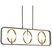 Swing 3 Light 40 inch Antique Bronze Linear Chandelier Ceiling Light