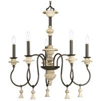 Progress P400068-077 Bergamo 5 Light 26 inch Forged Bronze Chandelier Ceiling Light Design Series
