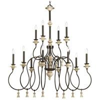 Progress P400070-077 Bergamo 12 Light 42 inch Forged Bronze Chandelier Ceiling Light Design Series