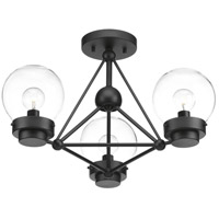 Spatial 3 Light 20 inch Black Semi-Flush Convertible Ceiling Light, Design Series