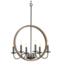 Progress P400081-020 Fontayne 6 Light 22 inch Antique Bronze Chandelier Ceiling Light Design Series