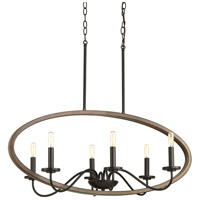 Progress P400082-020 Fontayne 6 Light 36 inch Antique Bronze Chandelier Ceiling Light Design Series
