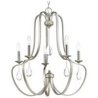Progress P400087-134 Anjoux 5 Light 25 inch Silver Ridge Chandelier Ceiling Light