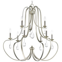Progress P400088-134 Anjoux 9 Light 34 inch Silver Ridge Chandelier Ceiling Light