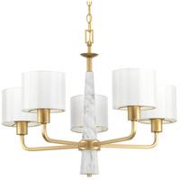 Progress P400098-078 Palacio 5 Light 27 inch Vintage Gold Chandelier Ceiling Light Design Series