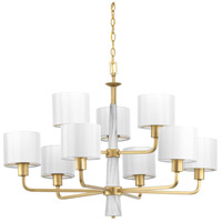 Progress P400099-078 Palacio 9 Light 36 inch Vintage Gold Chandelier Ceiling Light Design Series