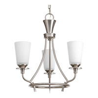 Progress P4005-09 Cantata 3 Light 17 inch Brushed Nickel Chandelier Ceiling Light in Etched Glass Painted White Inside