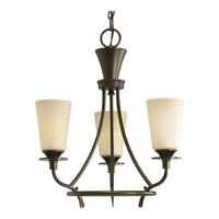 Progress P4005-77 Cantata 3 Light 17 inch Forged Bronze Chandelier Ceiling Light in Seeded Topaz Glass