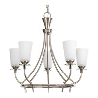 Cantata 5 Light 23 inch Brushed Nickel Chandelier Ceiling Light in Etched Glass Painted White Inside