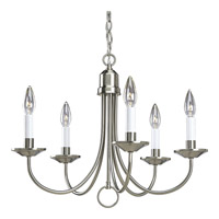 Progress P4008-09 Signature 5 Light 21 inch Brushed Nickel Chandelier Ceiling Light