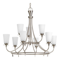 Cantata 9 Light 31 inch Brushed Nickel Chandelier Ceiling Light in Etched Glass Painted White Inside