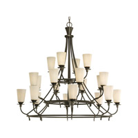 Progress P4040-77 Cantata 20 Light 42 inch Forged Bronze Chandelier Ceiling Light in Seeded Topaz Glass