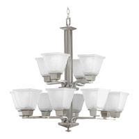 Progress P4053-09 North Park 12 Light 27 inch Brushed Nickel Chandelier Ceiling Light