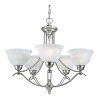 Avalon 5 Light 27 inch Brushed Nickel Chandelier Ceiling Light in Swirled Alabaster