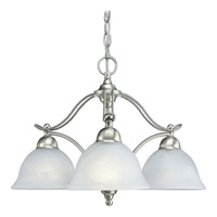 Avalon 3 Light 24 inch Brushed Nickel Chandelier Ceiling Light in Swirled Alabaster