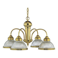 Progress Lighting Prismatic Glass 4 Light Chandelier in Polished Brass P4095-10