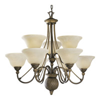 Progress Lighting Savannah 9 Light Chandelier in Burnished Chestnut P4121-86