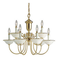 Progress Lighting Prescott 9 Light Chandelier in Polished Brass P4136-10
