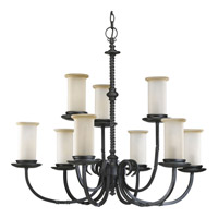 Santiago 9 Light 32 inch Forged Black Chandelier Ceiling Light