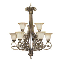 Progress Lighting Le Jardin 9 Light Chandelier in Biscay Crackle P4203-91C