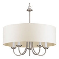 Progress Lighting Drum Shade 5 Light Drum Chandelier in Brushed Nickel with White textured Shade P4217-09