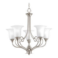 Kensington 5 Light 27 inch Brushed Nickel Chandelier Ceiling Light in Swirl Etched Glass
