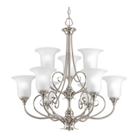 Kensington 9 Light 32 inch Brushed Nickel Chandelier Ceiling Light in Swirl Etched Glass