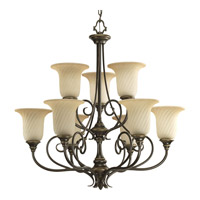 Kensington 9 Light 32 inch Forged Bronze Chandelier Ceiling Light in Frosted Caramel Swirl