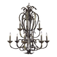 Progress Lighting Palmero 9 Light Chandelier in Weathered Bronze P4312-46