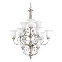 Progress P4314-09 Kensington 12 Light 34 inch Brushed Nickel Chandelier Ceiling Light in Swirl Etched Glass
