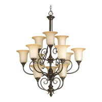 Progress Lighting Kensington 12 Light Chandelier in Forged Bronze P4314-77