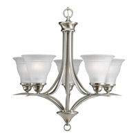Trinity 5 Light 23 inch Brushed Nickel Chandelier Ceiling Light in Bulbs Included, Fluorescent