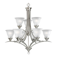Progress P4329-09 Trinity 9 Light 30 inch Brushed Nickel Chandelier Ceiling Light in Bulbs Not Included