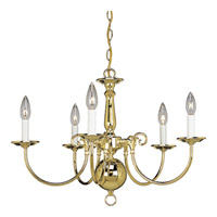 Progress Lighting Americana 5 Light Chandelier in Polished Brass P4346-10 photo thumbnail
