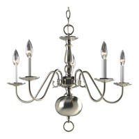 Progress P4355-09 Americana 5 Light 23 inch Brushed Nickel Chandelier Ceiling Light